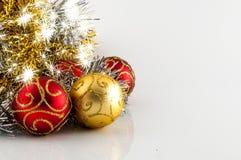 Christmas decoration on white background. Christmas decoration, red gold and silver, on white background Stock Photography