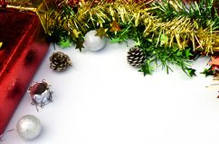 Christmas decoration on white backgrounds with space for text. Christmas decoration on white backgrounds with space for your text stock photos