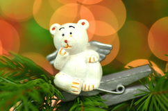 Christmas decoration, white bear angel on clip Stock Photos