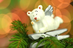 Christmas decoration, white bear angel on clip Royalty Free Stock Photography