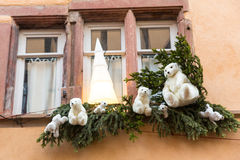 Christmas decoration with white bear  in Strasbourg. STRASBOURG, FRANCE - DECEMBER 29 2015: Christmas decoration with white bear in medieval city of Strasbourg Stock Photos