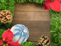 Christmas decoration with white and blue bauble and poinsettia o Royalty Free Stock Photos