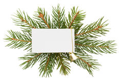 Christmas decoration with white card isolated on white backgroun Royalty Free Stock Photography