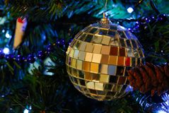 Christmas decoration. White decorations on tree christmas royalty free stock photo