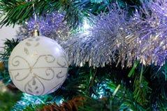 Christmas decoration. White decorations on tree christmas stock photography