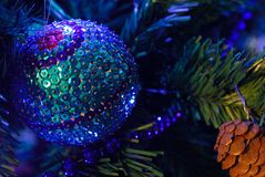 Christmas decoration. White decorations on tree christmas royalty free stock photography