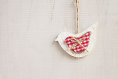 Christmas decoration white dove on wooden background horizontal Royalty Free Stock Photos