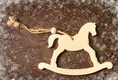 Christmas decoration - white horse. New year symbol 2015. Stock Images