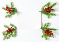 Christmas decoration white paper sheet Flat lay background Stock Photo