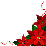 Christmas decoration on white. Poinsettia with ribbons Vector Stock Photography