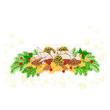 Christmas decoration white poinsettia with various pine cones vector Stock Photos
