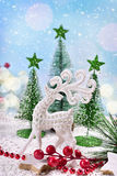 Christmas decoration with white reindeer Stock Image