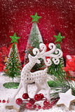 Christmas decoration with white reindeer Royalty Free Stock Photo