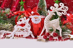 Christmas decoration with white reindeers Royalty Free Stock Photography