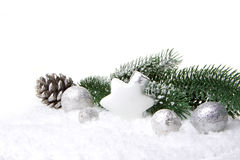 Christmas decoration white and silver Stock Photography