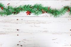 Christmas decoration on white wood Stock Photography