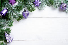 Christmas decoration on white wooden background. Christmas decoration on wooden background with free space Royalty Free Stock Images