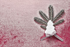 Christmas Decoration with White Wooden Christmas Tree on Red Snowy Background. Copy Space Wallpaper. Christmas Card. Stock Images