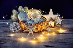 Christmas decoration in wicker basket stock photo