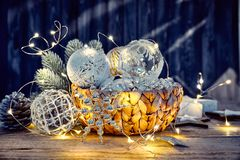 Christmas decoration in wicker basket with electric Stock Photos