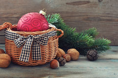 Christmas decoration in wicker basket Royalty Free Stock Photography