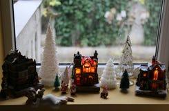 Christmas decoration at window Royalty Free Stock Photo