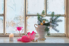 Christmas decoration on window Royalty Free Stock Photo