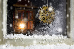 Christmas decoration on a window 9 royalty free stock photography