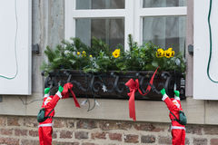 Christmas decoration on a window sill stock image