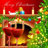 Christmas Decoration with Wine Glass Stock Photos