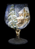 Christmas Decoration On The Wine Glass Stock Photos