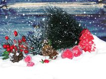 Christmas decoration winter berries and snow on wooden backgroun. Christmas fruit berries apple and decoration with fir branches snow Royalty Free Stock Images
