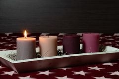 Free Christmas Decoration With Beautiful Glowing Advent Candles Stock Photography - 163659602