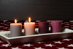 Free Christmas Decoration With Beautiful Glowing Advent Candles Royalty Free Stock Image - 163659616