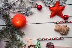 Christmas Decoration With Burning Candle Stock Photo