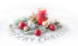 Free Christmas Decoration With Candle And Christmas Balls Royalty Free Stock Image - 104884126