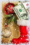 Christmas Decoration With Money Royalty Free Stock Photo