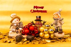 Free Christmas Decoration With Snowmen, Decorations With Mood Lighting. Stock Photo - 163768100