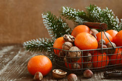 Christmas Decoration With Tangerines With Copy Space On Wooden B Stock Photo