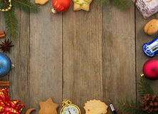 Christmas decoration on wood Stock Images