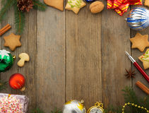 Christmas decoration on wood Royalty Free Stock Photography