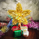 Christmas decoration on wood Royalty Free Stock Photo