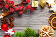 Christmas decoration on wood background Royalty Free Stock Images