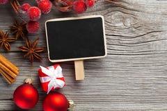 Christmas decoration on wood background Royalty Free Stock Photo