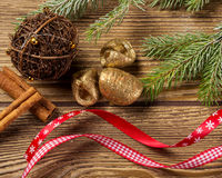 Christmas decoration, on wood background pine tree branch,ornaments Royalty Free Stock Photos