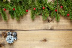 Christmas decoration on wood background royalty free stock photography