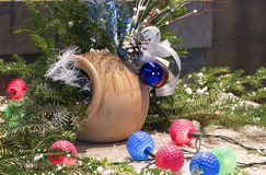 Christmas decoration on wood board. Christmas decoration balls and fir stock images