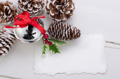 Christmas decoration on wood Stock Photos