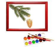 Christmas decoration in wood frame Stock Images