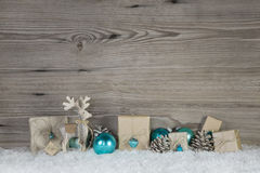 Christmas decoration of wood and paper in beige brown white and Royalty Free Stock Images
